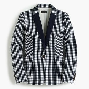 NWT J.Crew Puckered gingham blazer w/ navy lapel